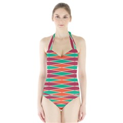 Distorted Rhombus Pattern Women s Halter One Piece Swimsuit by LalyLauraFLM
