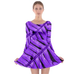 Purple Fern Long Sleeve Skater Dress by timelessartoncanvas
