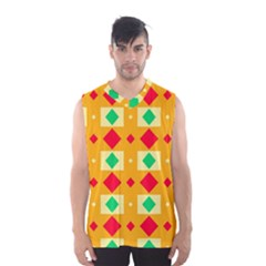 Green Red Yellow Rhombus Pattern Men s Basketball Tank Top by LalyLauraFLM