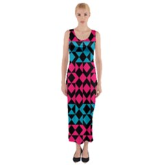 Rhombus And Trianglesfitted Maxi Dress by LalyLauraFLM