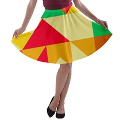 Retro Colors Shapes A-line Skater Skirt by LalyLauraFLM