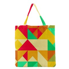 Retro Colors Shapes Grocery Tote Bag by LalyLauraFLM