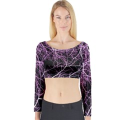 Purple Twigs Long Sleeve Crop Top by timelessartoncanvas