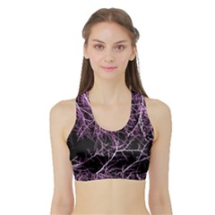 Purple Twigs Women s Sports Bra With Border by timelessartoncanvas