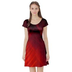 Red Abstract Short Sleeve Skater Dress by timelessartoncanvas