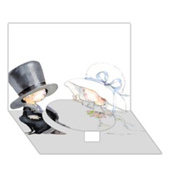 Little Bride And Groom Circle Bottom 3d Greeting Card (7x5)  by Weddings