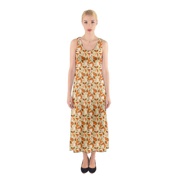 Curious Maple fox Full Print Maxi Dress