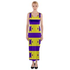 Tribal Shapes And Stripes Fitted Maxi Dress