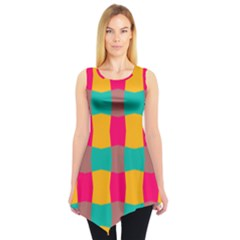 Distorted Shapes In Retro Colors Pattern Sleeveless Tunic by LalyLauraFLM