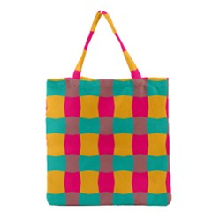 Distorted Shapes In Retro Colors Pattern Grocery Tote Bag by LalyLauraFLM