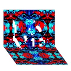 Red Black Blue Art Pattern Abstract Love 3d Greeting Card (7x5)  by Costasonlineshop