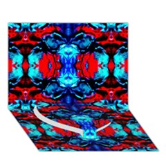 Red Black Blue Art Pattern Abstract Heart Bottom 3d Greeting Card (7x5)  by Costasonlineshop