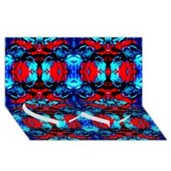 Red Black Blue Art Pattern Abstract Twin Heart Bottom 3d Greeting Card (8x4)  by Costasonlineshop