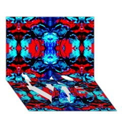 Red Black Blue Art Pattern Abstract Love Bottom 3d Greeting Card (7x5)  by Costasonlineshop