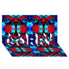 Red Black Blue Art Pattern Abstract Sorry 3d Greeting Card (8x4)  by Costasonlineshop