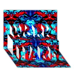 Red Black Blue Art Pattern Abstract Work Hard 3d Greeting Card (7x5)  by Costasonlineshop