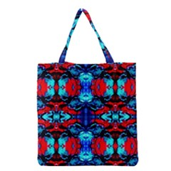 Red Black Blue Art Pattern Abstract Grocery Tote Bags by Costasonlineshop
