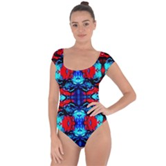 Red Black Blue Art Pattern Abstract Short Sleeve Leotard (ladies) by Costasonlineshop