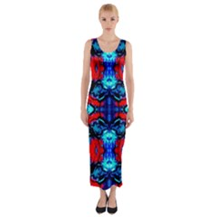 Red Black Blue Art Pattern Abstract Fitted Maxi Dress by Costasonlineshop