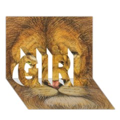 Regal Lion Drawing Girl 3d Greeting Card (7x5)  by KentChua