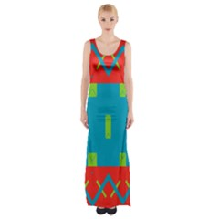 Chevrons And Rectangles Maxi Thigh Split Dress by LalyLauraFLM