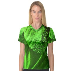 Green And Powerful Women s V Neck Sport Mesh Tee by timelessartoncanvas