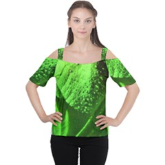 Green And Powerful Women s Cutout Shoulder Tee by timelessartoncanvas
