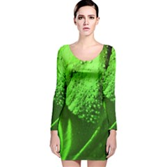 Green And Powerful Long Sleeve Velvet Bodycon Dress by timelessartoncanvas