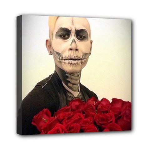 Halloween Skull Tux And Roses  Mini Canvas 8  X 8