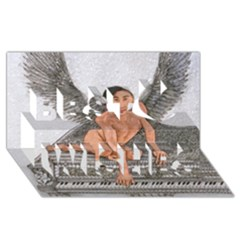 Angel And The Piano Drawing Best Wish 3d Greeting Card (8x4)  by KentChua