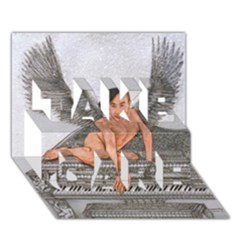 Angel And The Piano Drawing Take Care 3d Greeting Card (7x5)  by KentChua