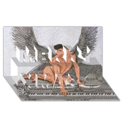 Angel And The Piano Drawing Merry Xmas 3d Greeting Card (8x4)  by KentChua