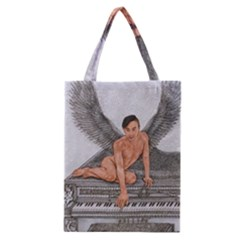Angel And The Piano Drawing Classic Tote Bags by KentChua