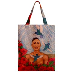 Spring Amazed By The Hummingbirds Drawing Zipper Classic Tote Bags by KentChua