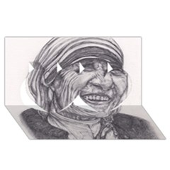 Mother Theresa  Pencil Drawing Twin Hearts 3d Greeting Card (8x4)