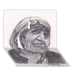Mother Theresa  Pencil Drawing Apple 3d Greeting Card (7x5)