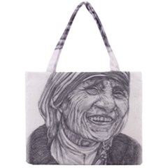 Mother Theresa  Pencil Drawing Tiny Tote Bags by KentChua