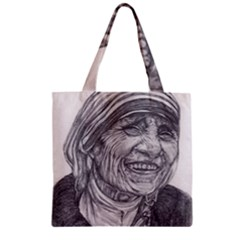 Mother Theresa  Pencil Drawing Zipper Grocery Tote Bags by KentChua