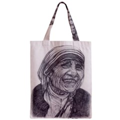Mother Theresa  Pencil Drawing Zipper Classic Tote Bags