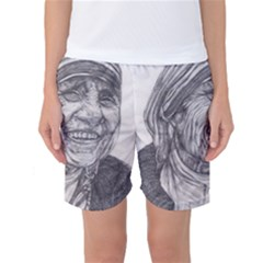Mother Theresa  Pencil Drawing Women s Basketball Shorts