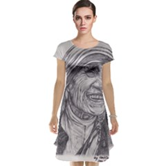 Mother Theresa  Pencil Drawing Cap Sleeve Nightdress by KentChua