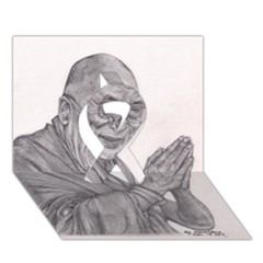 Dalai Lama Tenzin Gaytso Pencil Drawing Ribbon 3d Greeting Card (7x5)  by KentChua