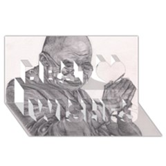 Dalai Lama Tenzin Gaytso Pencil Drawing Best Wish 3d Greeting Card (8x4)  by KentChua