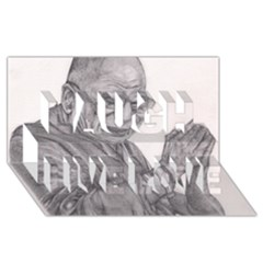 Dalai Lama Tenzin Gaytso Pencil Drawing Laugh Live Love 3d Greeting Card (8x4)  by KentChua