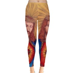Sacred Heart Of Jesus Christ Drawing Leggings  by KentChua