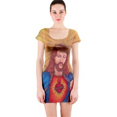 Sacred Heart Of Jesus Christ Drawing Short Sleeve Bodycon Dress by KentChua