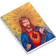 Sacred Heart Of Jesus Christ Drawing Large Memo Pads by KentChua
