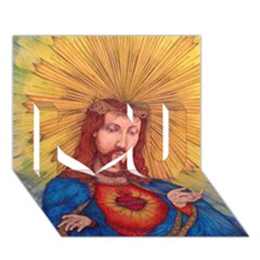 Sacred Heart Of Jesus Christ Drawing I Love You 3d Greeting Card (7x5)  by KentChua