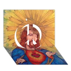 Sacred Heart Of Jesus Christ Drawing Peace Sign 3d Greeting Card (7x5)  by KentChua