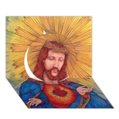 Sacred Heart Of Jesus Christ Drawing Circle 3d Greeting Card (7x5)  by KentChua